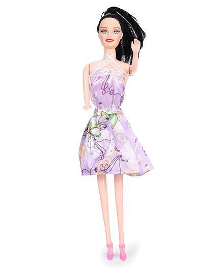 Winni Fashion Doll In Floral Dress And Black Hair - Purple