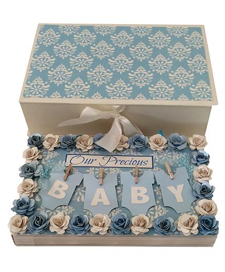 Crack of Dawn Baby Handmade Photo Album Floral Design - Blue