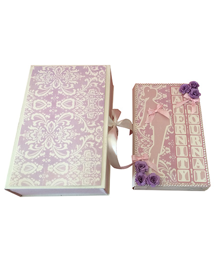 Crack of Dawn Crafts Maternity Journal Handmade Pregnancy Scrapbook - Lavender