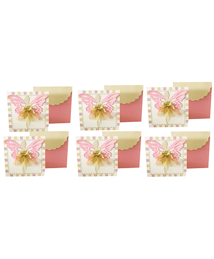 Crack of Dawn Crafts Fairy Dress Birthday Invitation Pink Cream - Pack of 6