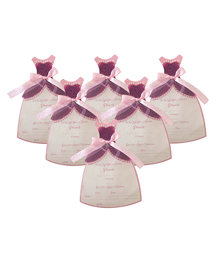 Crack of Dawn Crafts Princess Gown Birthday Invitations Pink - Pack of 6
