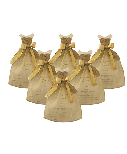 Crack of Dawn Crafts Princess Gown Birthday Invitations Golden - Pack of 6