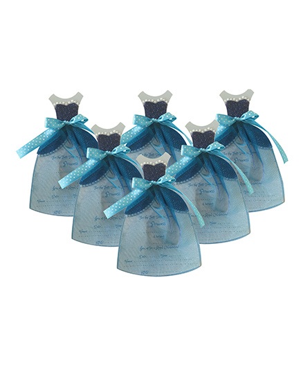 Crack of Dawn Crafts Princess Gown Birthday Invitations Blue - Pack of 6
