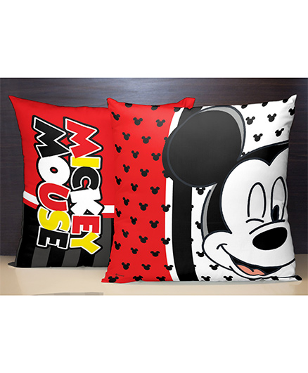 Spaces Reversible Polyester Cushion Cover Mickey Mouse Print - Red