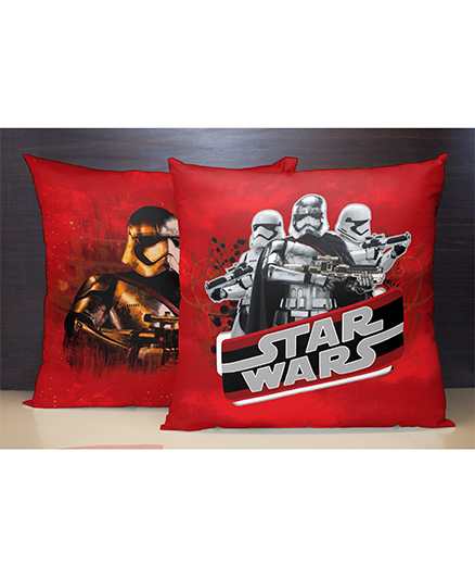 Spaces Reversible Polyester Cushion Cover Star Wars Print - Red