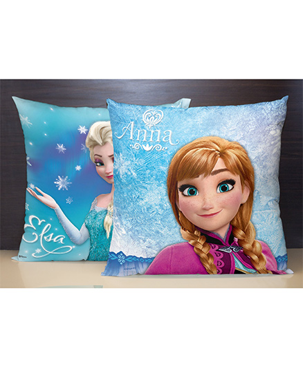 Spaces Reversible Polyester Cushion Cover Anna And Elsa Print - Blue