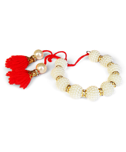 Akinos Kids Ethnic Pearl Beaded Armlet - Red
