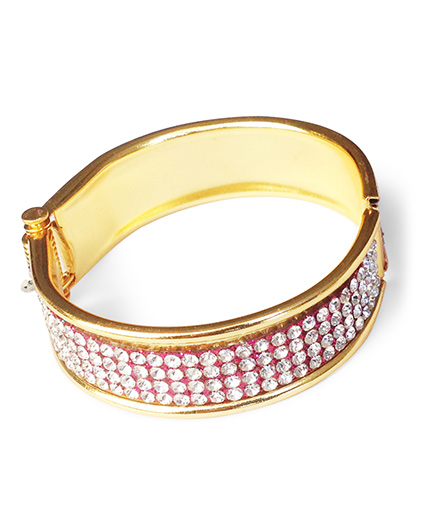 Akinos Kids Elegant Diamond Studded Bangle - Golden