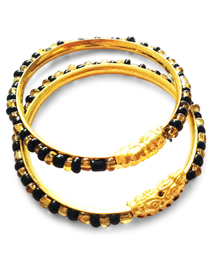 Akinos Kids Stylish Ethnic Beaded Nazariya Bangles - Black & Golden