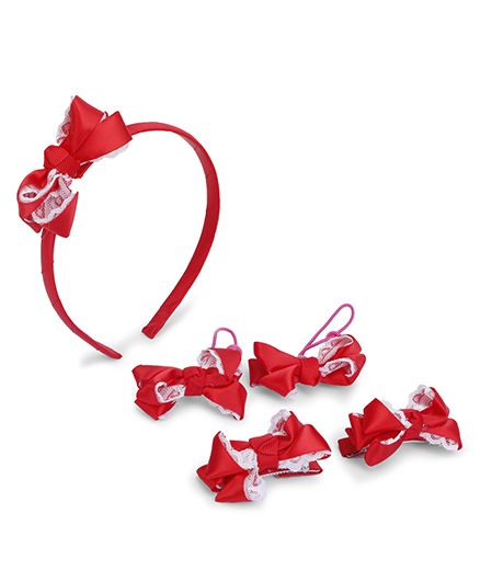 Anaira Princess Lace Hairband Hair Clip And Hair Rubber Band Set - Red