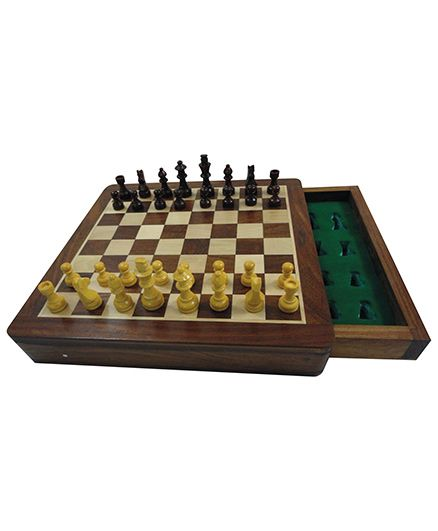 Wasan Chopra Chess With Drawer - Brown Cream