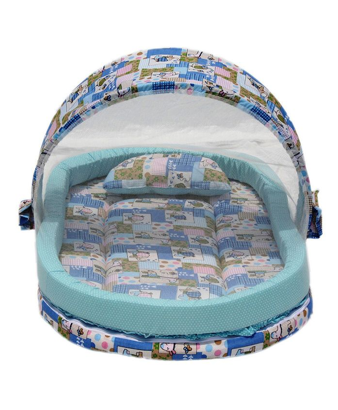Amardeep Mattress With Mosquito Net With Bumper Guard - Blue