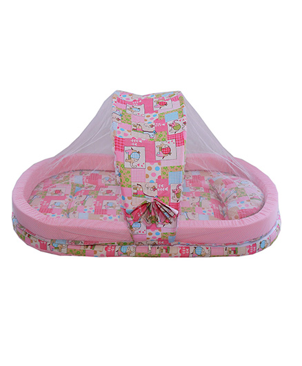 Amardeep Mattress With Mosquito Net With Bumper Guard - Pink