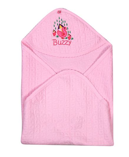 Buzzy Hooded Quilted Wrap Embroidered - Pink