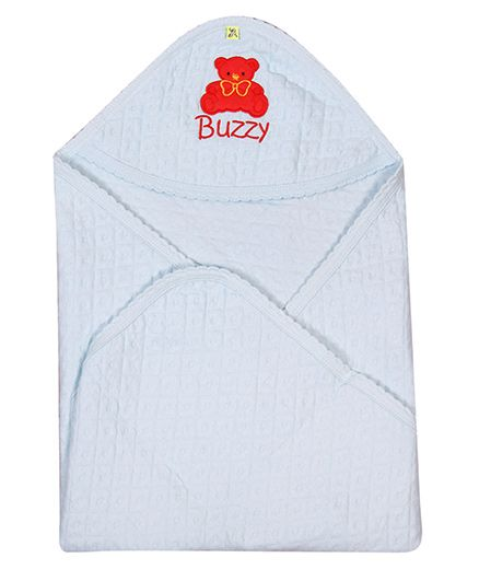 Buzzy Hooded Quilted Wrap Embroidered - Light Blue