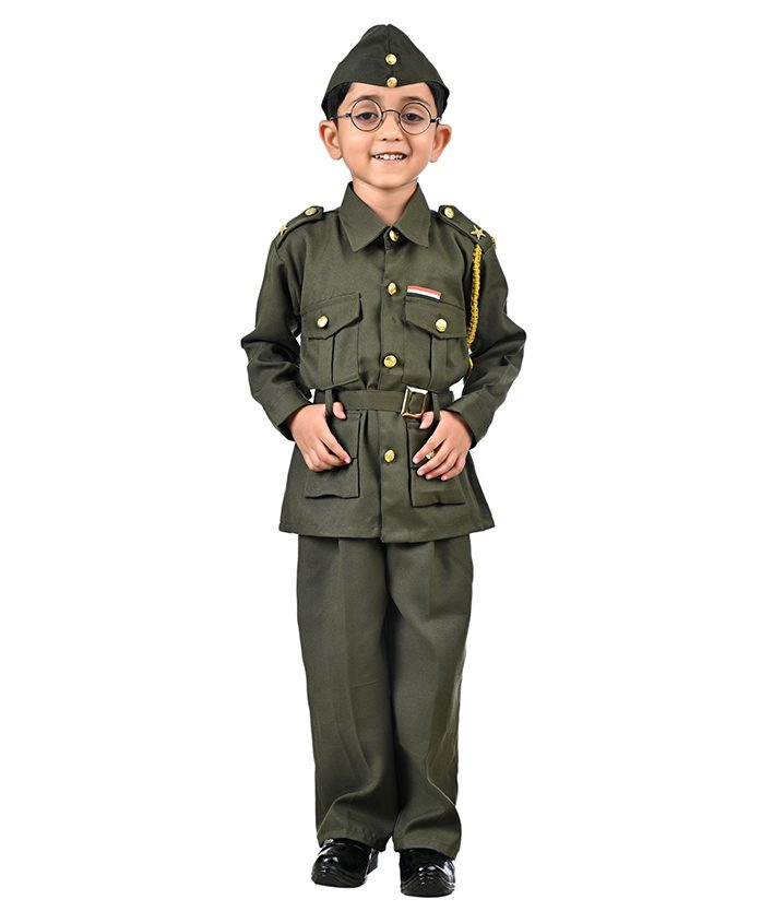 BookMyCostume Subhash Chandra Bose Freedom Fighter Fancy Dress Costume - Green - Green