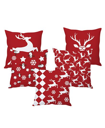 Stybuzz Christmas Cushion Cover Red White - Set Of 5