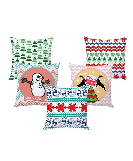 Stybuzz Christmas Cushion Cover Pack Of 5 - Multi Color
