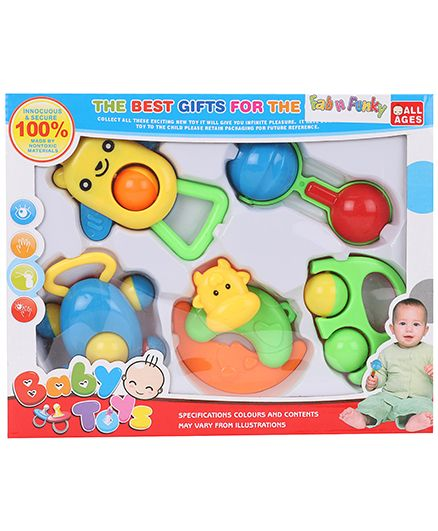 Baby Rattle 5 Pieces Set With Cow Face Design - Yellow & Multi Color