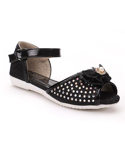 Cute Walk by Babyhug Party Wear Sandals Bow Motif - Black