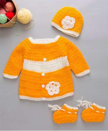 The Original Knit Sweater Set With Cap & Booties - Yellow & White