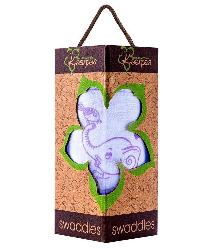 Kaarpas Premium Organic Cotton Muslin Medium Swaddle Elephant