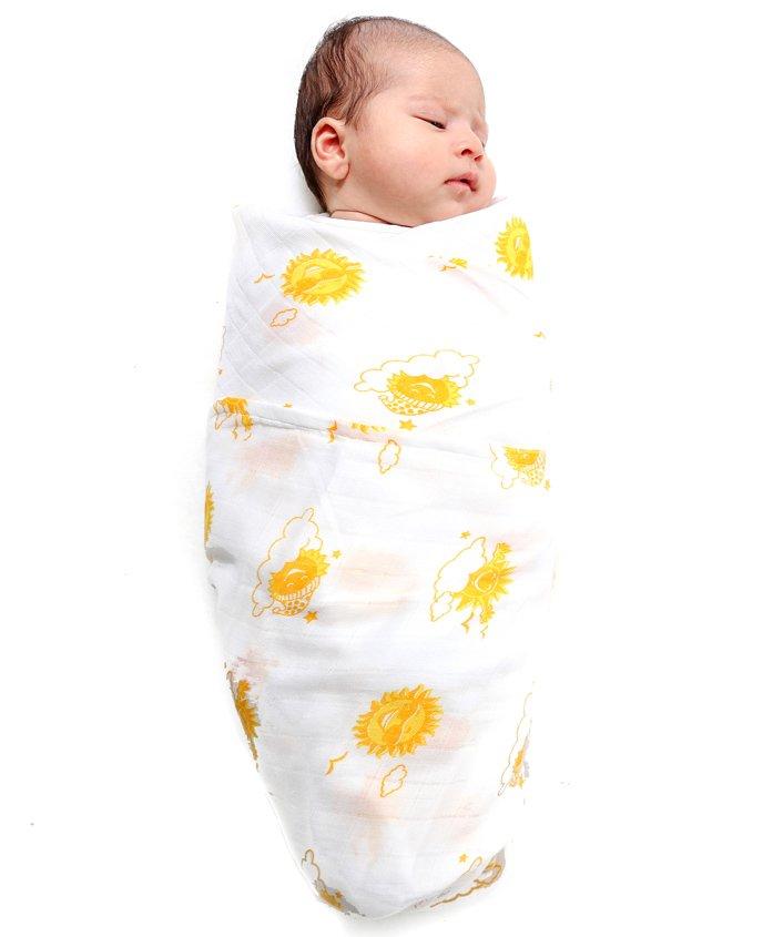 Kaarpas Premium Organic Cotton Muslin Medium Swaddle Sun