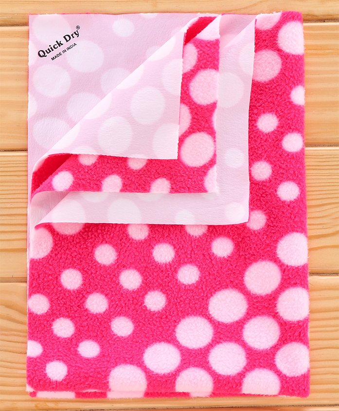 Quick Dry Laminated Fabric Bed Protector Pink Circle- Small