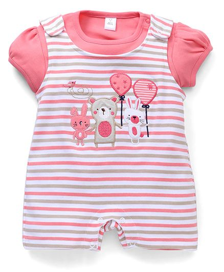 ToffyHouse Dungaree Style Romper With Inner Tee Balloon Patch - Peach