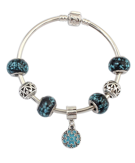 Dazzling Dolls Sterling Murano Beads Bracelet - Blue