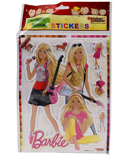 Sticker Bazaar Barbie A4 Foam Sparkle Sticker - Multi Color