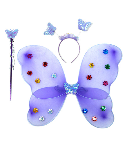 Aarika Butterfly Wings With Magic Wand & Hairband Fairy Costume Set - Purple