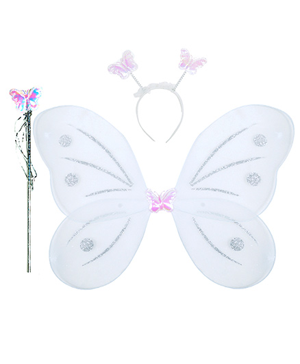 Aarika Butterfly Wings With Magic Wand & Hairband Fairy Costume Set - Silver