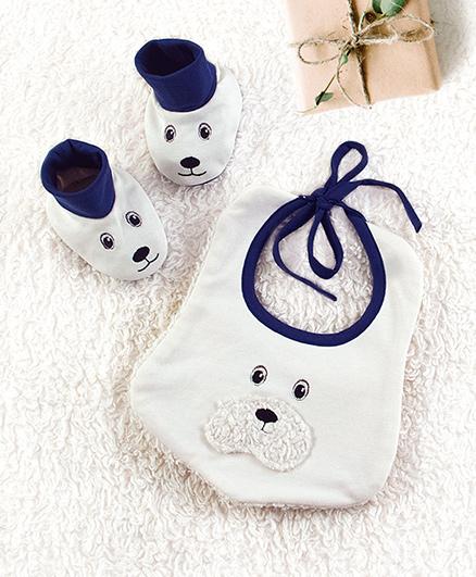 Pranava Bear Bib Ankle Booties - White & Blue