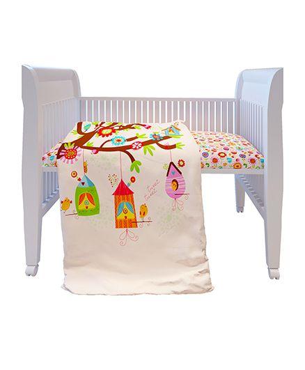 Fancy Fluff Premium Digitally Printed Comforter Bird Theme - Off White
