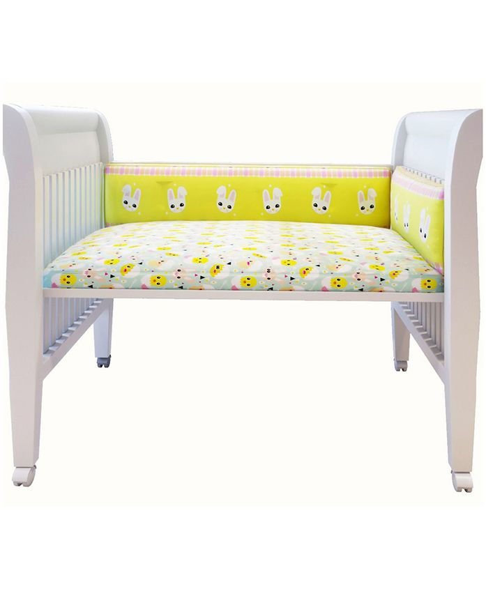 Fancy Fluff Premium Digitally Printed Cot Bumper Bunny Theme - Yellow