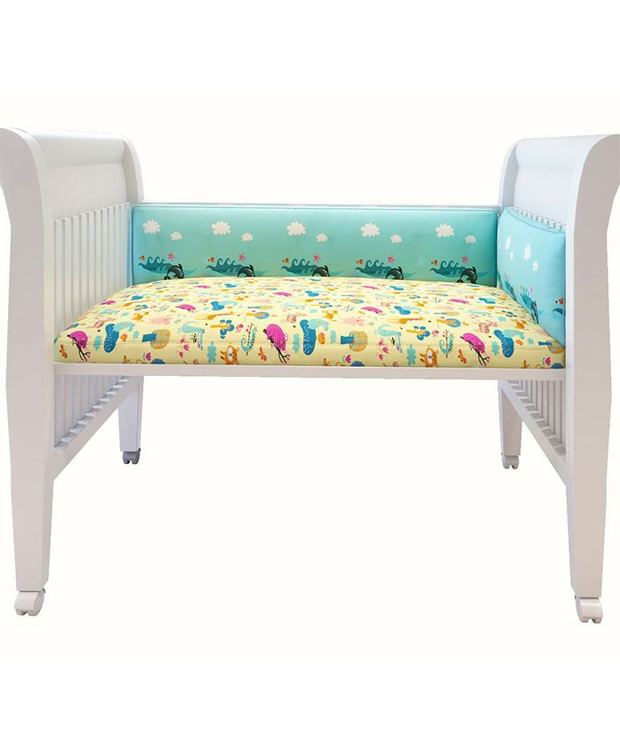 Fancy Fluff Premium Digitally Printed Cot Bumper Dolphin Theme - Green