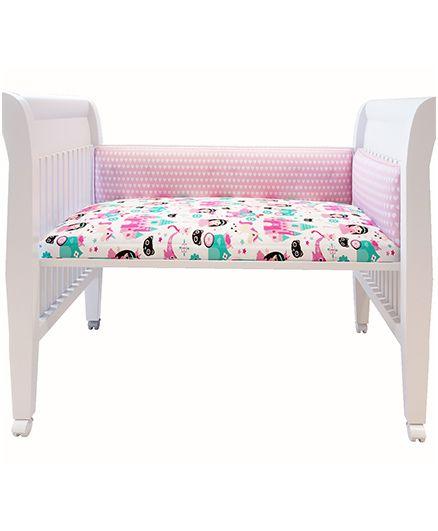 Fancy Fluff Premium Digitally Printed Cot Bumper Little Hearts Theme - Pink
