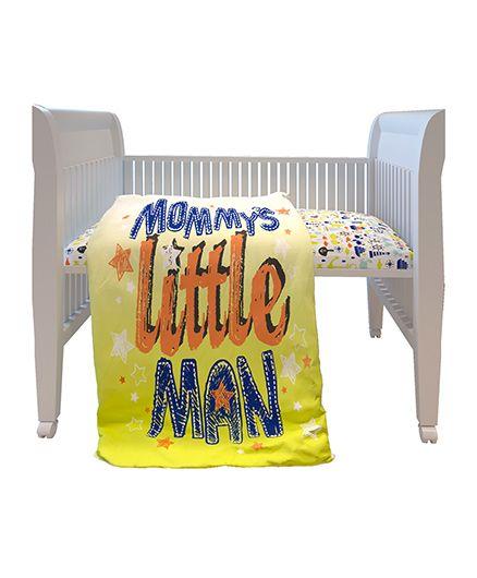 Fancy Fluff Premium Digitally Printed Comforter Little Man Theme - Yellow