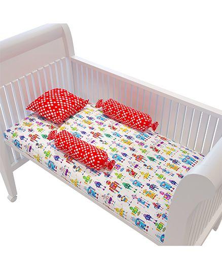 Fancy Fluff Premium Cot Bedsheet Pillow & Bolster Set Robot Theme - Red White