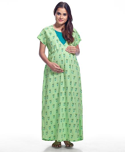 Kriti Half Sleeves Maternity Nighty Floral Print - Green