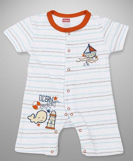 Babyhug Half Sleeves Romper Boat Embroidery - Orange