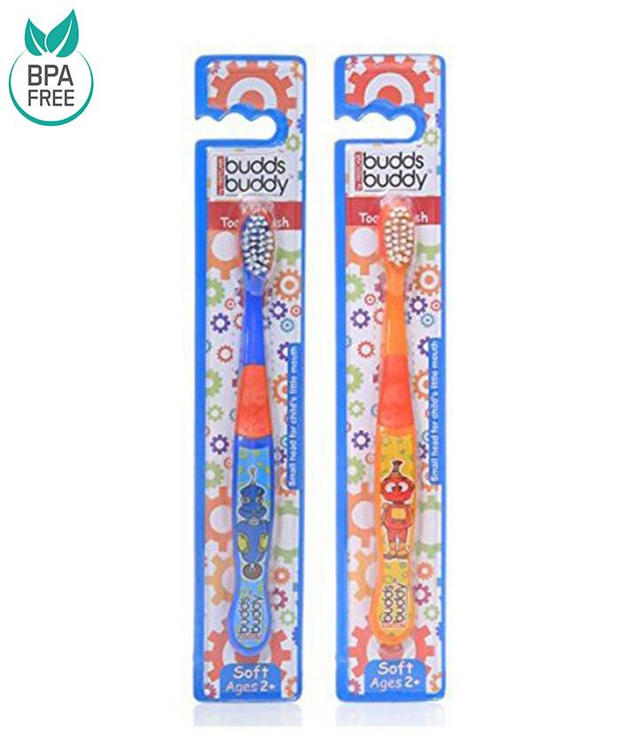 Combo of 2 Buddsbuddy Kids Toothbrush - Orange and Blue