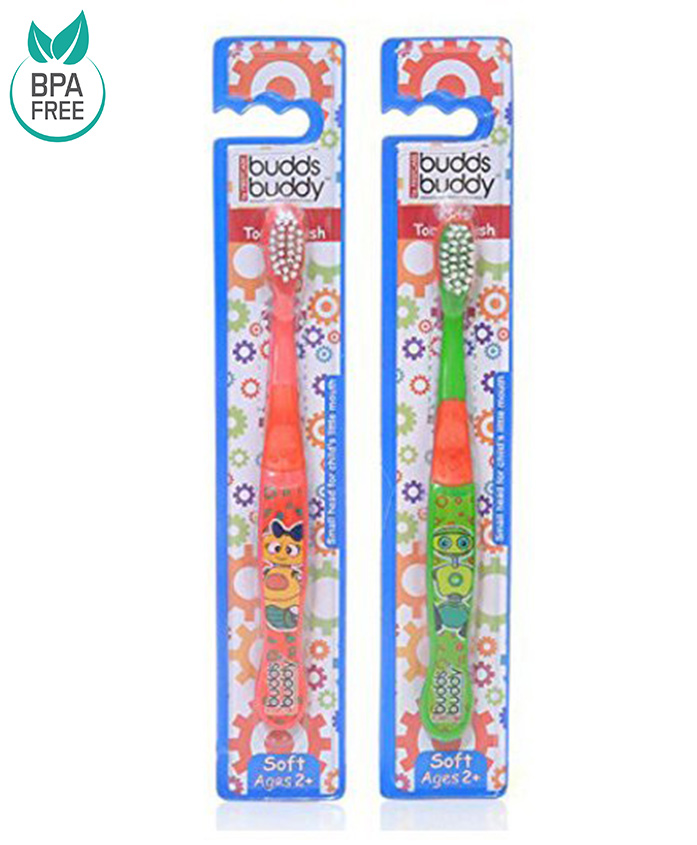 Combo of 2 Buddsbuddy Kids Toothbrush - Red and Green