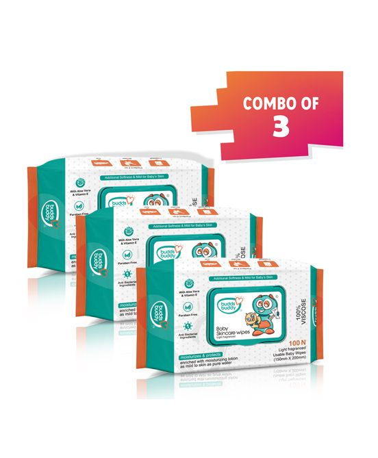 Buddsbuddy Combo Of 3 Baby Skincare Wet Wipes White - 100 Pieces Per Pack