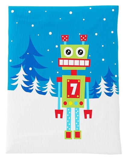 Fancy Fluff Premium Digitally Printed Comforter Robot Theme - Blue White