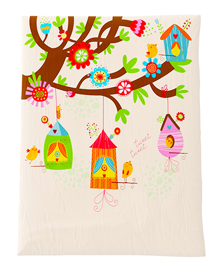 Fancy Fluff Premium Digitally Printed Comforter Bird Theme - Multicolor