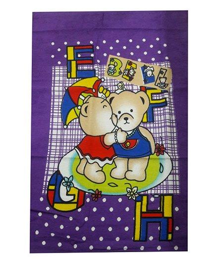 Sassoon Dotted Towel Teddy Bear Design - Purple