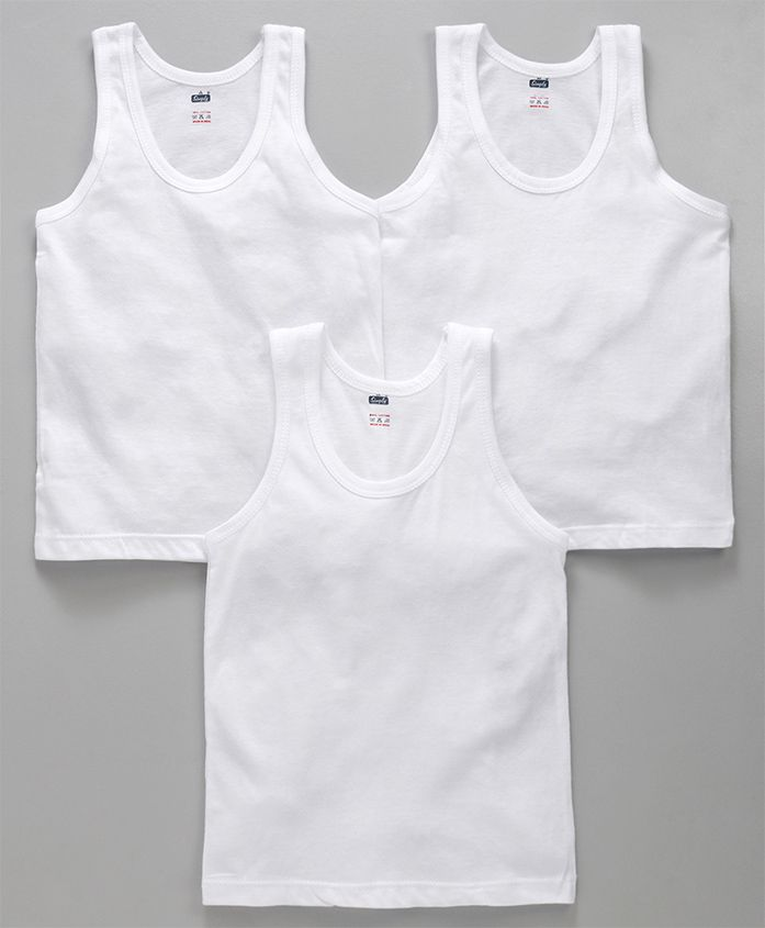 Simply Sleeveless Vest Pack of 3 - White