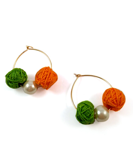 Tiny Closet Pair Of Thread Ball Earrings - Orange & Green